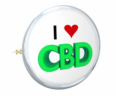 CBD Cannabidiol Marijuana Cannabis I Love Heart Button Pin 3d Illustration