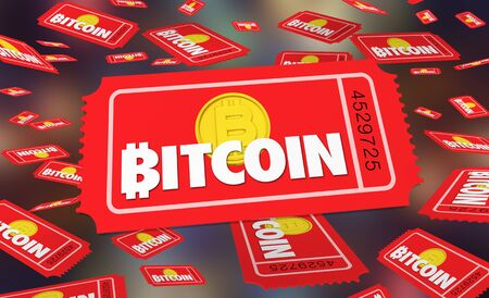 Bitcoin Cryptocurrency Digital Blockchain Money Tickets Contest Enter to Win 3d Illustration 스톡 콘텐츠