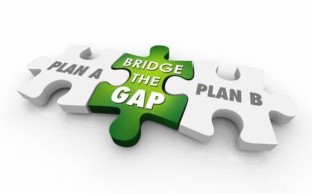 Plan A B Bridge the Gap Puzzle Pieces Words 3d Illustration Reklamní fotografie - 124716186