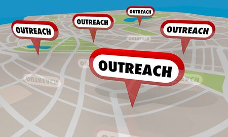 Outreach Event Campaign Efforts Map Pins Locations 3d Illustration Stock Photo