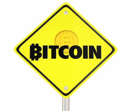 Bitcoin Cryptocurrency Digital Blockchain Money Yellow Road Sign 3d Illustration