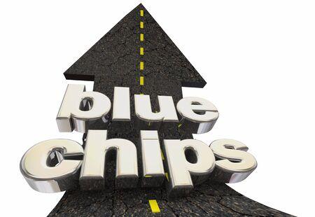 Blue Chips Important Goals Mission Objective Road Arrow Up Words 3d Illustration