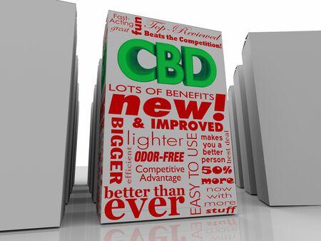 CBD Cannabidiol Marijuana Cannabis Product Box Package 3d Illustration Imagens