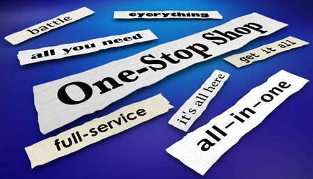 One-Stop Shop Newspaper Headlines Full Service Store Business 3d Illustration Stockfoto