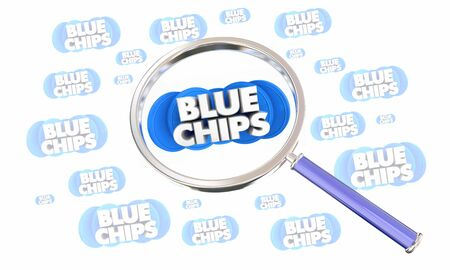 Blue Chips Top Priority Company Goal Magnifying Glass Search 3d Illustration