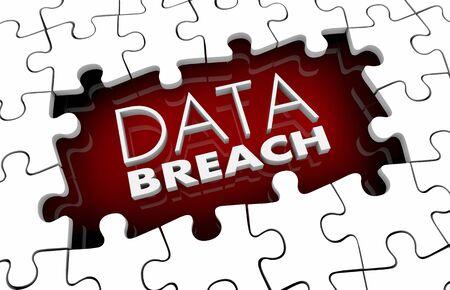 Data Breach Security Flaw Defect Hack Puzzle Pieces Hole Gap 3d Illustration