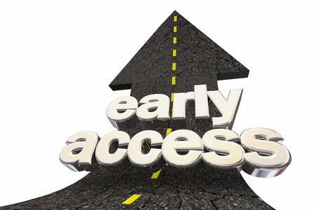 Early Access First Open Accessibility Road Arrow Up Word 3d Illustration 写真素材 - 124716208