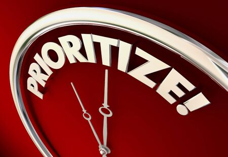 Prioritize Clock Time to Set Priorities 3d Illustration Stock Photo