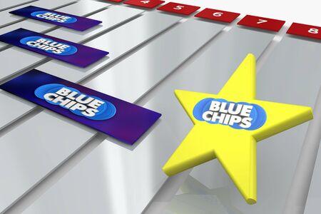 Blue Chips Top Priority Company Goal Gantt Chart 3d Illustration Stock Photo