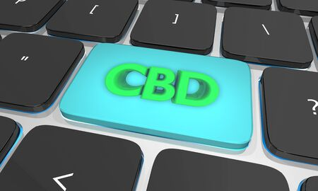 CBD Cannabidiol Marijuana Cannabis Computer Laptop Key eCommerce 3d Illustration