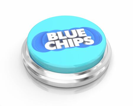 Blue Chips Top Priority Company Goal Button Easy Step 3d Illustration Stock Photo