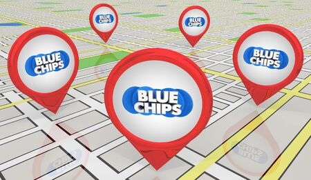 Blue Chips Top Priority Company Goal Map Pins Locations 3d Illustration