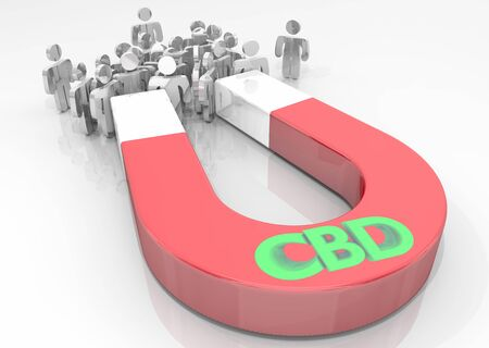 CBD Cannabidiol Marijuana Cannabis Magnet Attract Customers 3d Illustration Фото со стока - 124716220