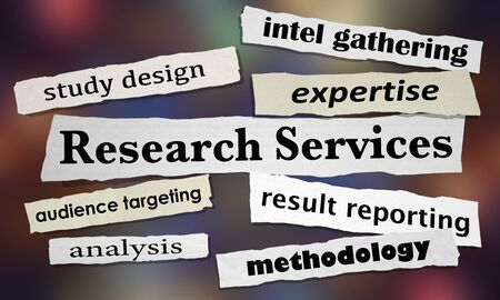 Research Services Intel Data Gathering Analysis News Headlines 3d Illustration Фото со стока