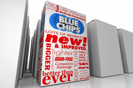 Blue Chips Top Goals Priorities New Product Box Unique Choice 3d Illustration Reklamní fotografie