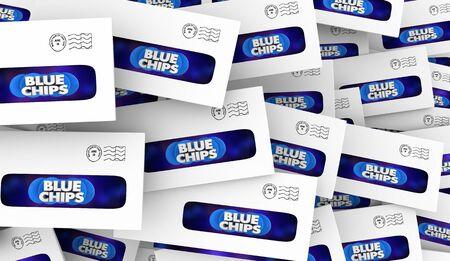 Blue Chips Top Priority Company Goal Envelope Pile 3d Illustration