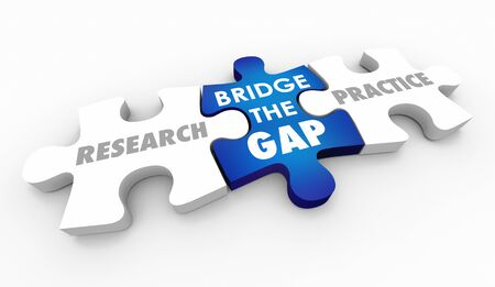 Research and Practice Bridge the Gap Puzzle Pieces Words 3d Illustration