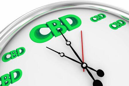 CBD Cannabidiol Marijuana Cannabis Clock Time Deadline 3d Illustration Stock Photo