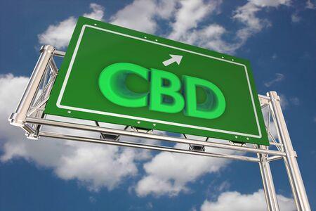 CBD Cannabidiol Marijuana Cannabis Road Freeway Highway Sign 3d Illustration