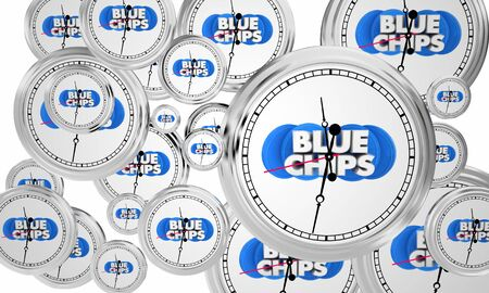 Blue Chips Top Priority Company Goal Clocks Flying Time 3d Illustration Stock Photo