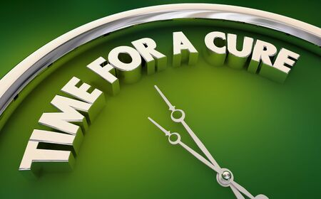 Time for a Cure End Disease Illness Clock Words 3d Illustration