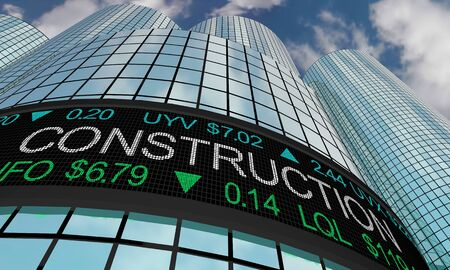 Construction Services Stock Market Industry Sector Wall Street Buildings 3d Illustration
