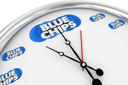 Blue Chips Top Priority Company Goal Time Clock Ticking 3d Illustration