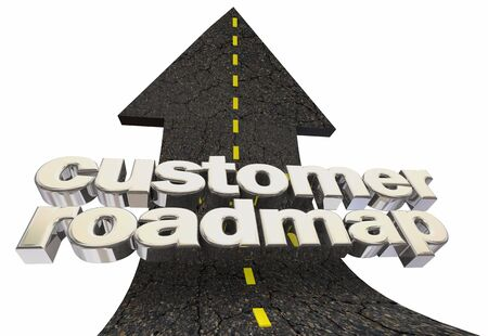 Customer Roadmap Journey Way Forward Path Roads Arrow Up Word 3d Illustration 写真素材 - 124716250