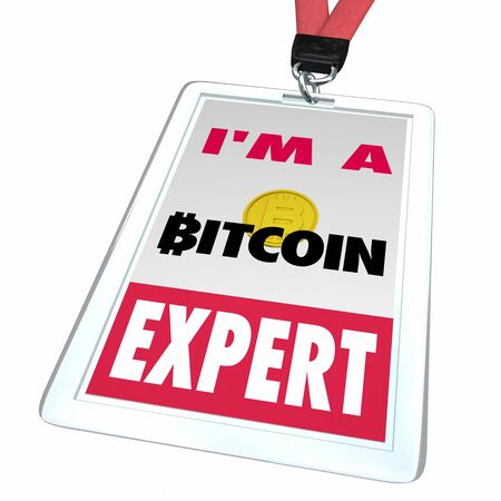 Bitcoin Cryptocurrency Digital Money Badge Expert Knowledge Pro 3d Illustration Banco de Imagens