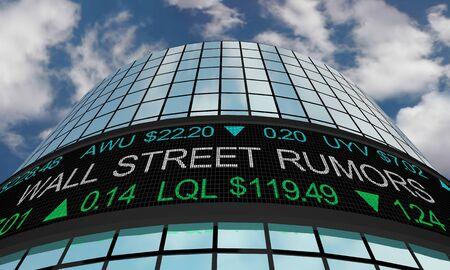 Wall Street Rumors Gossip Buzz Stock Market News 3d Illustration Фото со стока