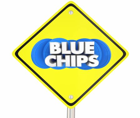 Blue Chips Top Goals Priorities Road Sign Warning Alert 3d Illustration