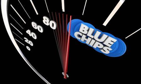 Blue Chips Top Goals Priorities Speedometer Success Level Rising 3d Illustration 写真素材