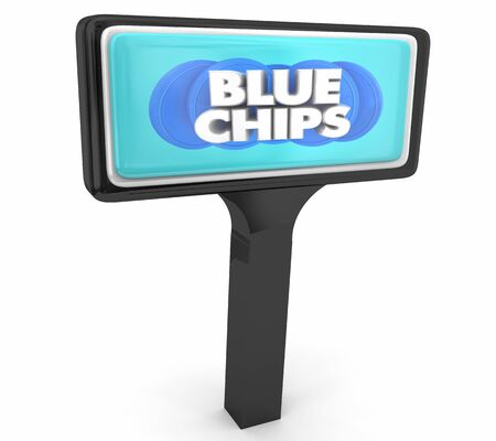 Blue Chips Top Goals Priorities Store Business Sign 3d Illustration Stock Photo