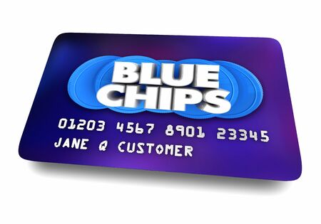 Blue Chips Top Priority Company Goal Credit Card Shopping 3d Illustration