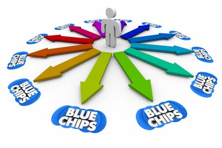 Blue Chips Top Priority Company Goal Person Arrow Choices 3d Illustration