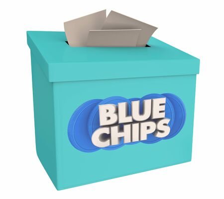 Blue Chips Top Goals Priorities Suggestion Idea Box 3d Illustration Stock Photo