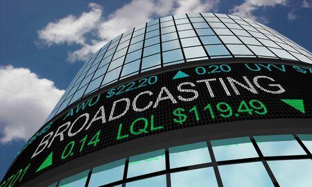 Broadcasting TV Radio Stock Market Industry Sector Wall Street Buildings 3d Illustration