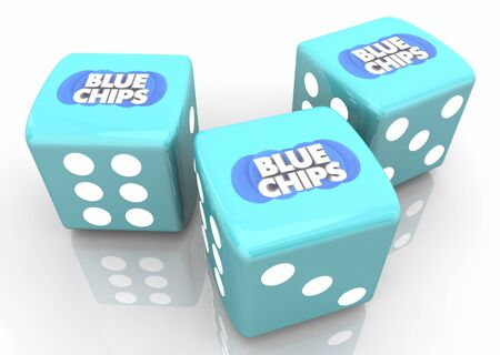 Blue Chips Top Priority Company Goal Dice Take Chance Gamble 3d Illustration Stock Photo