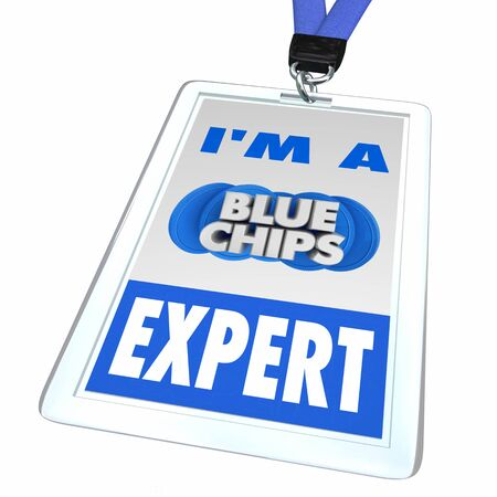 Blue Chips Top Priority Company Goal Employee Badge Expert 3d Illustration
