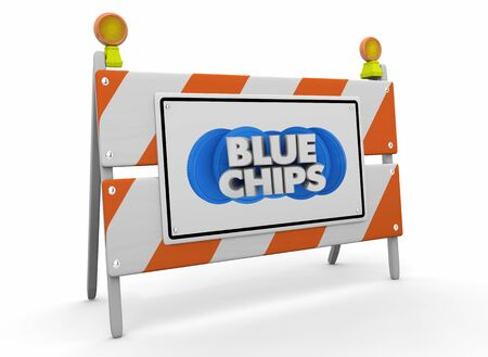 Blue Chips Top Priority Company Goal Construction Barricade Sign 3d Illustration