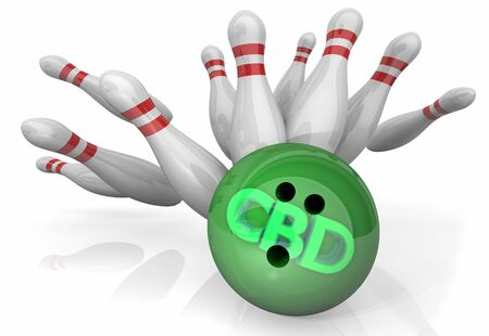 CBD Cannabidiol Marijuana Cannabis Bowling Ball Strike Pins 3d Illustration 스톡 콘텐츠
