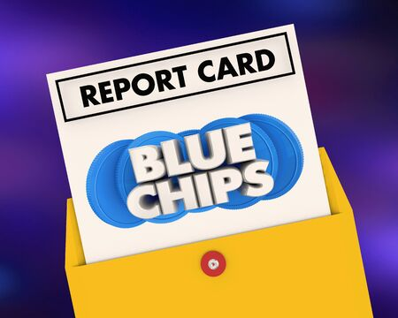 Blue Chips Top Goals Priorities Report Card Grade Score 3d Illustration