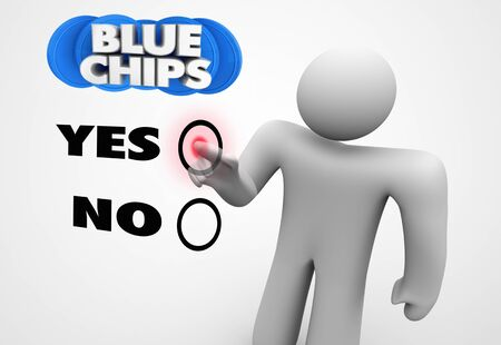 Blue Chips Top Goals Priorities Person Choice Vote Yes 3d Illustration