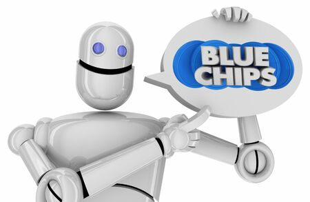 Blue Chips Top Goals Priorities Robot Speech Bubble Discussion 3d Illustration