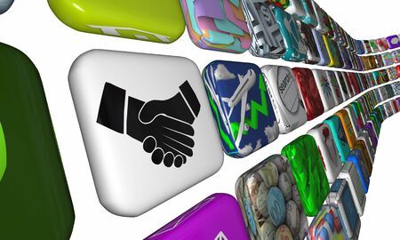 Handshake Agreement Shaking Hands App Software License 3d Illustration Foto de archivo - 125470988