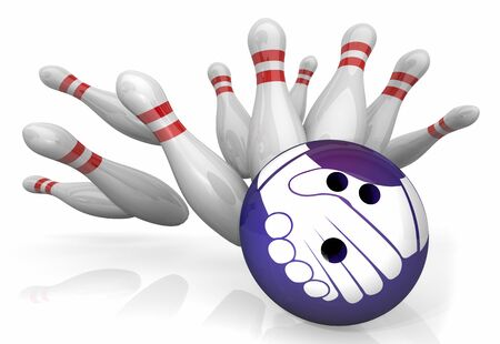 Handshake Agreement Shaking Hands Bowling Ball Strike Pins 3d Illustration Foto de archivo - 125470991