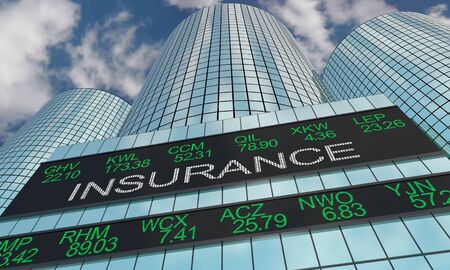 Insurance Companies Stock Market Industry Sector Wall Street Buildings 3d Illustration 스톡 콘텐츠