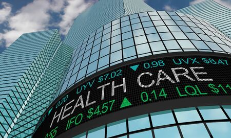 Health Care Medical Stock Market Industry Sector Wall Street Buildings 3d Illustration 스톡 콘텐츠