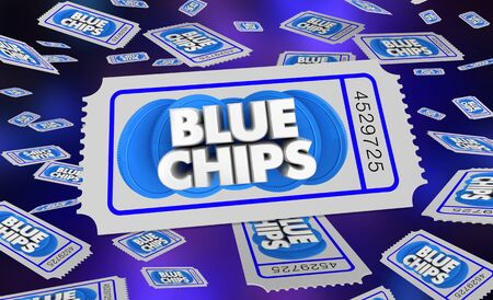 Blue Chips Top Goals Priorities Tickets Drawing Raffle Winner 3d Illustration 스톡 콘텐츠