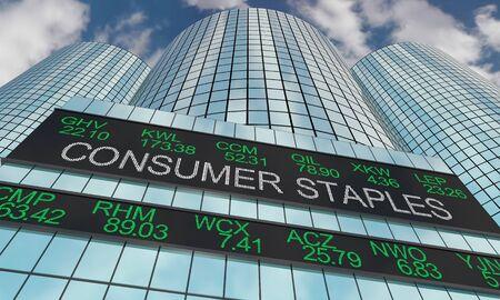 Consumer Staples Goods Stock Market Industry Sector Wall Street Buildings 3d Illustration Stock Photo